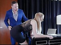 Akexa Grace has a manager who is a utter hardass. He`s always on her can and can`t even let her celebrate stuff she does well. He really let her have it when she turned in an error crammed report. He had her crouch at the edge of his desk and get spanked, then made to strip down and suck his cock as a reminder of what happens when she fucks up.